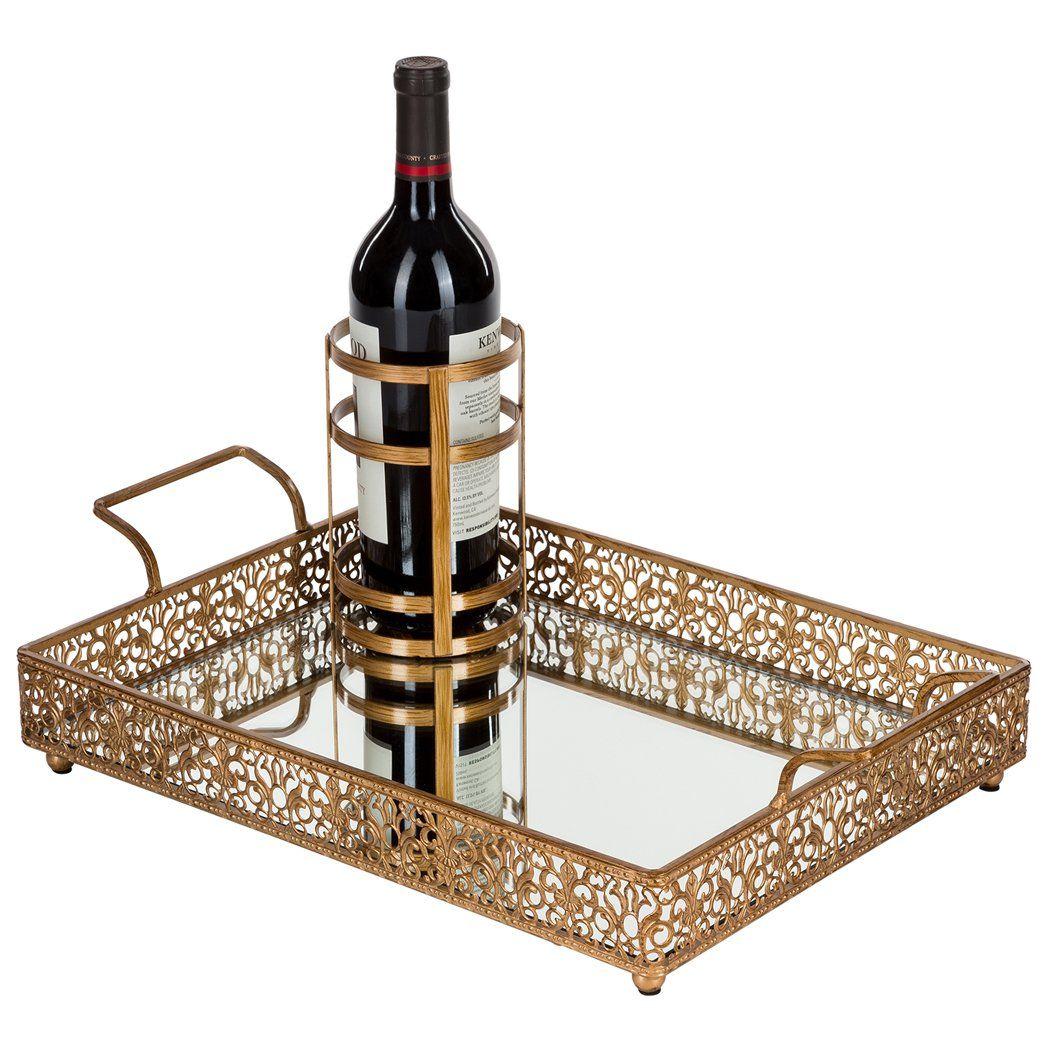 Vintage Rectangular Mirror Top Serving Tray With Bottle Holder Gold Vintage Gold Mirror Mirrored Serving Tray Rectangular Mirror