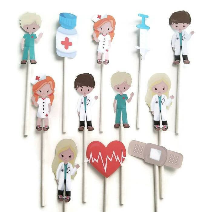 Doctor cupcake toppers - set of 12, doctor party, nurse theme, doctor cake toppers, centerpiece #12doctor
