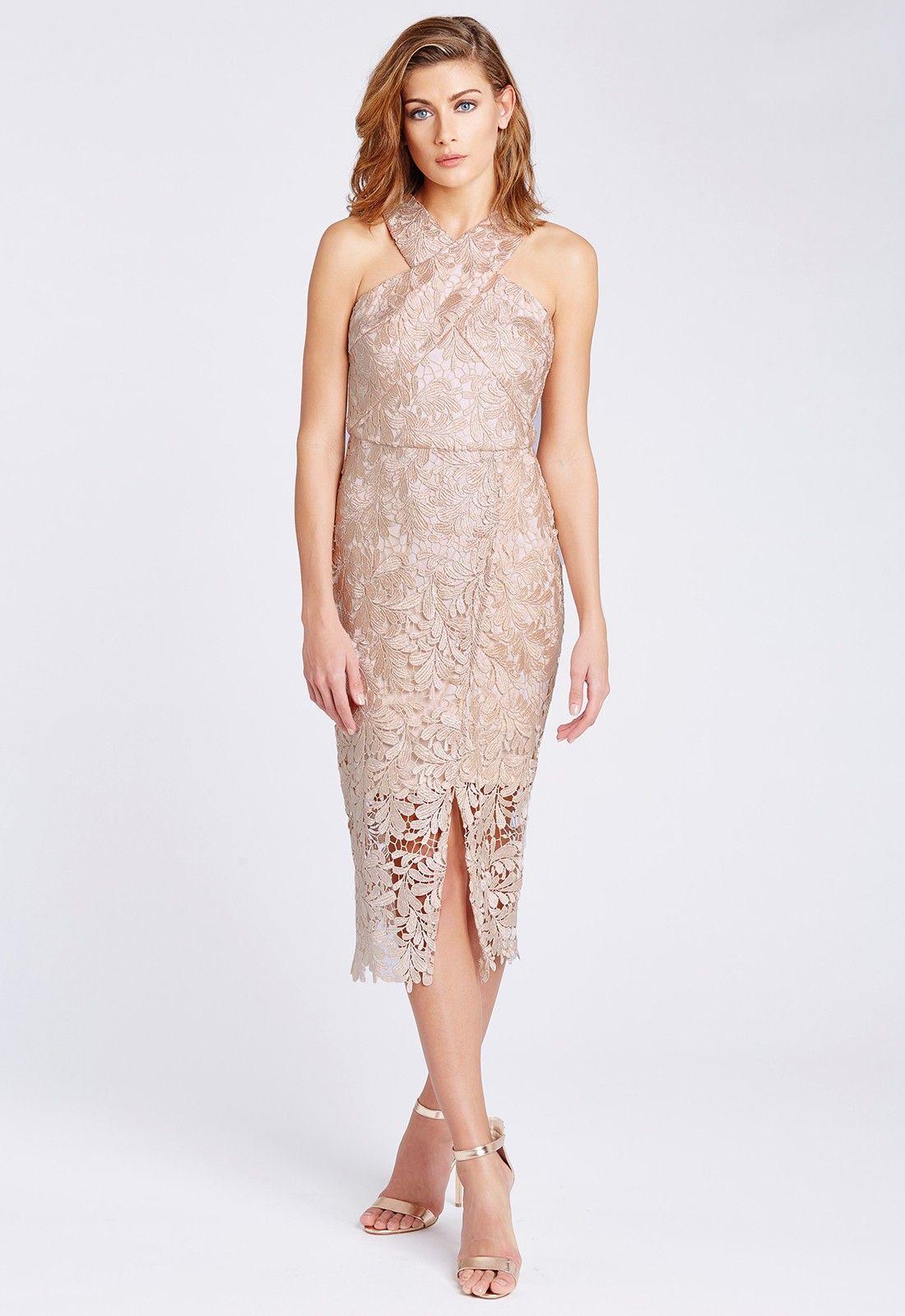 Danna cross front lace midi dress in nude lace midi dress front