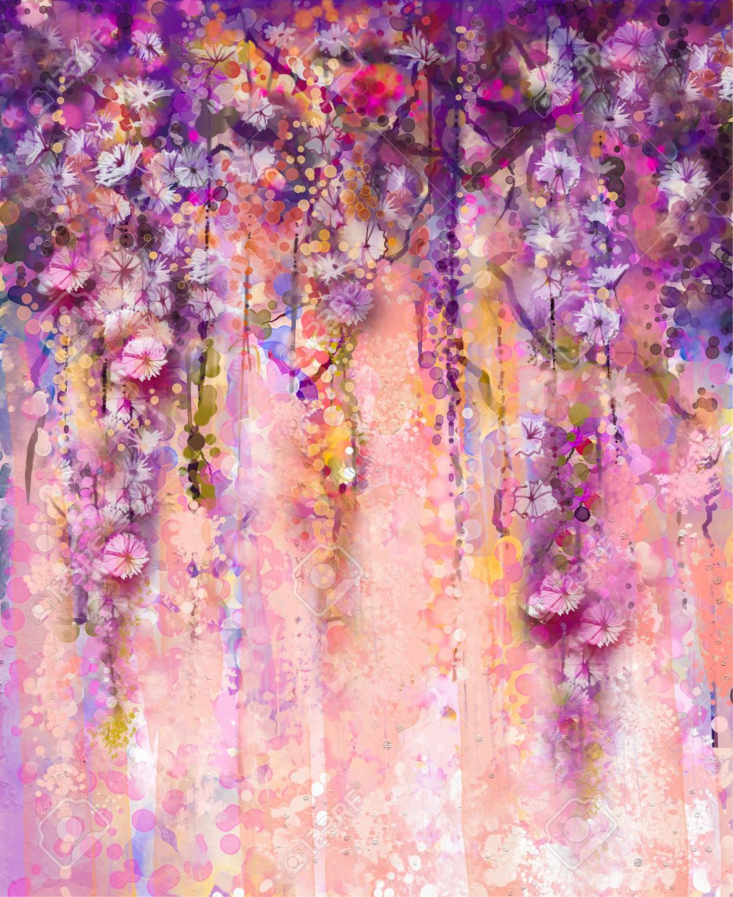 abstract pink and violet color flowers watercolor
