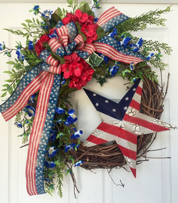 4th Of July Patriotic Red White And Blue Country By Williamsfloral 4th Of July Wreath 4th Of July Patriotic Decorations