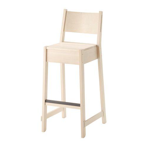 NORRÅKER Taburete alto, blanco abedul | Taburete de madera ...
