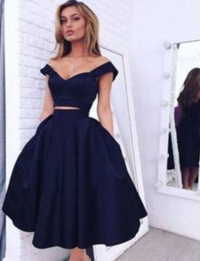Custom Made 2 Pieces Off Shoulder Short Navy Blue Prom Dresses, Short Navy Blue Graduation Dresses, Homecoming Dresses