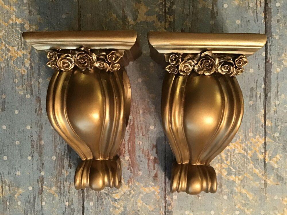 Shabby Farmhouse Curtain Rod Sconces Shabby Gold Roses 1 Pair