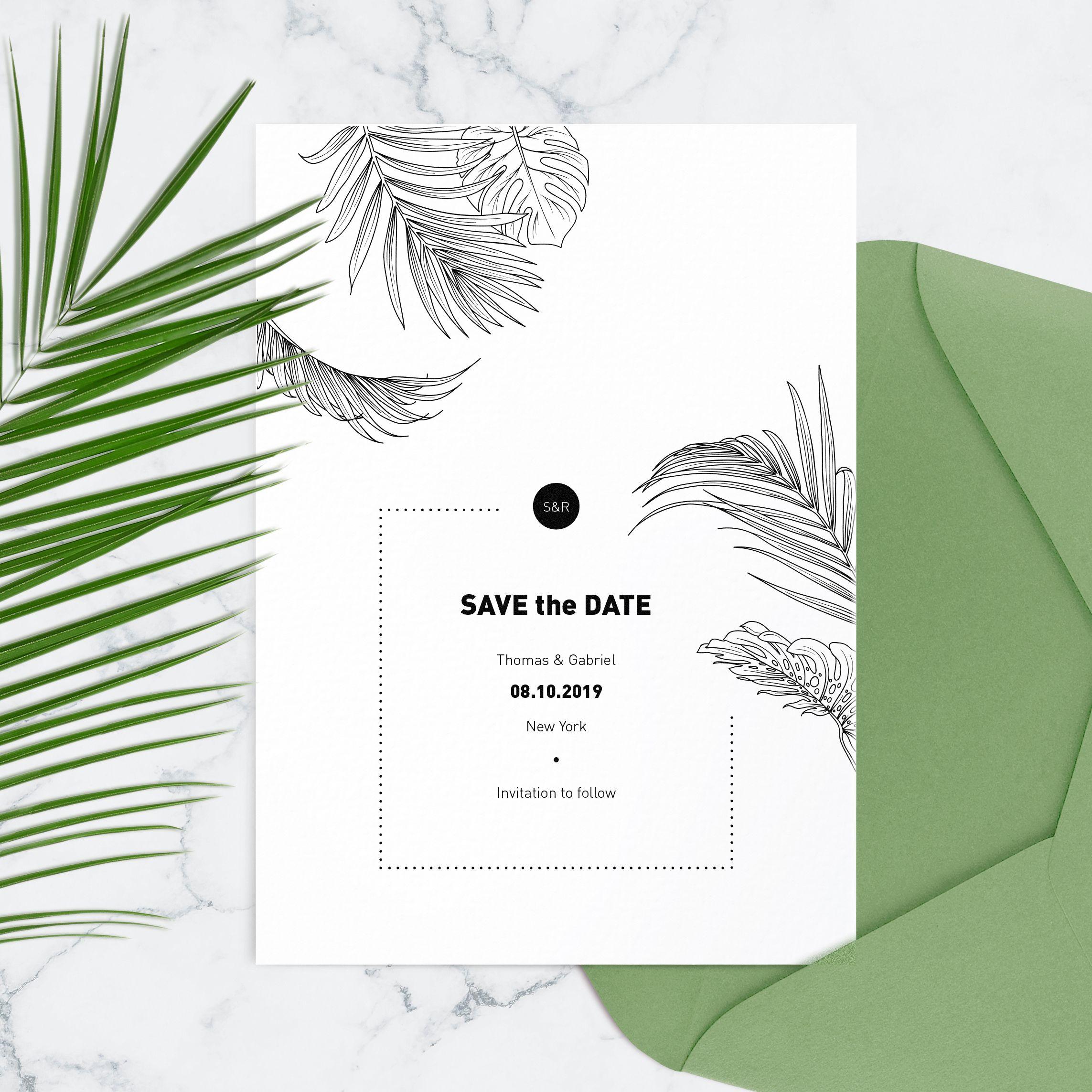 Tropical wedding save the date cards Destination wedding ...