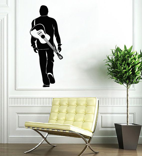 Man With Guitar Decal   Musician Wall Decals Home Decor Vinyl Art Wall  Decor Bedroom Music Studio Sound Recording Studio Decor