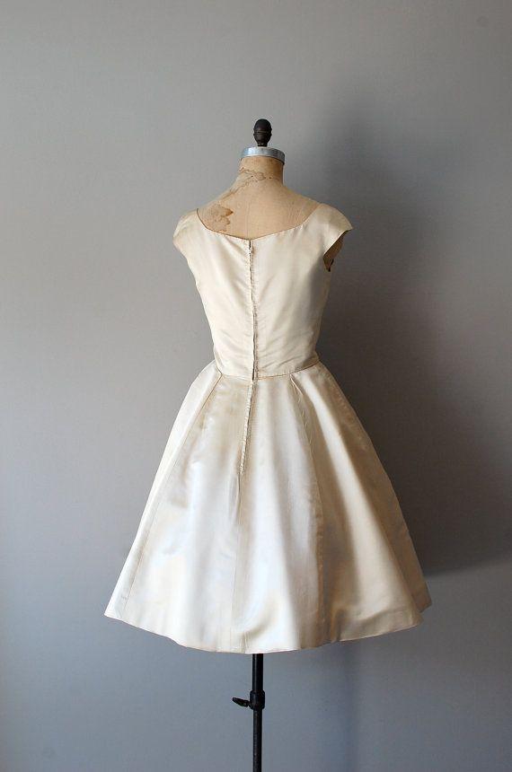 1950s wedding dress / silk 50s dress / beaded by DearGolden