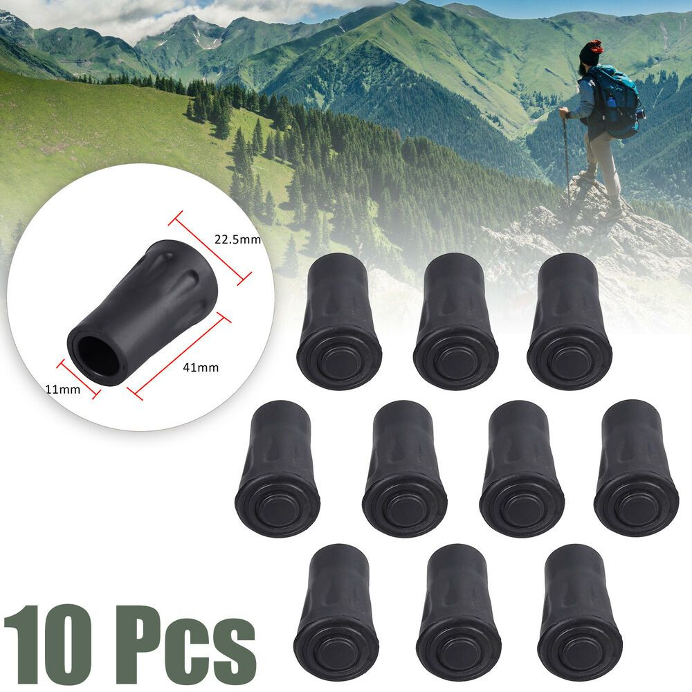 Spare Replacement Walking Stick Trekking Hiking Pole Rubber Ferrule Ends 2 Pack