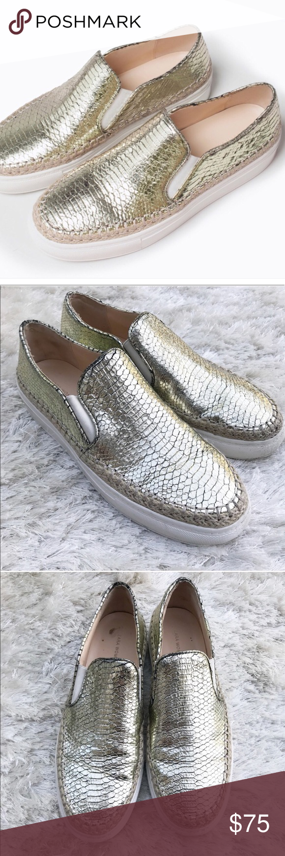 ZARA Gold pattern Espadrille slip on sneakers Gold shinny leather snakeskin  croc embossed pattern slip on flats with white platform sole. e2aa5c658ba