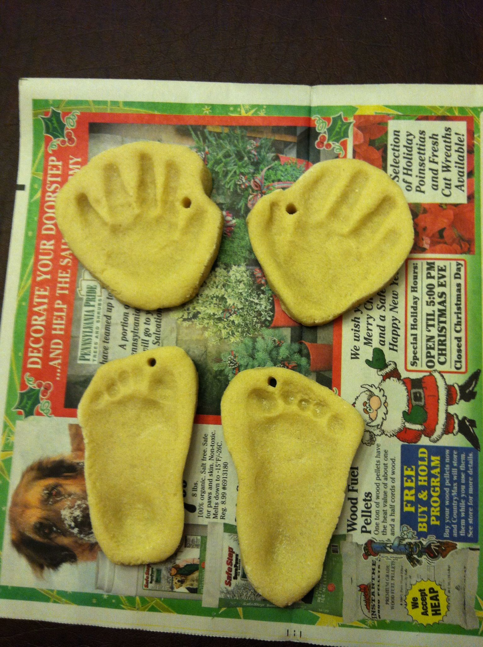 Hand And Footprint Salt Dough Ornaments With Images First Christmas Ornament Wreath Decor Toddler Art