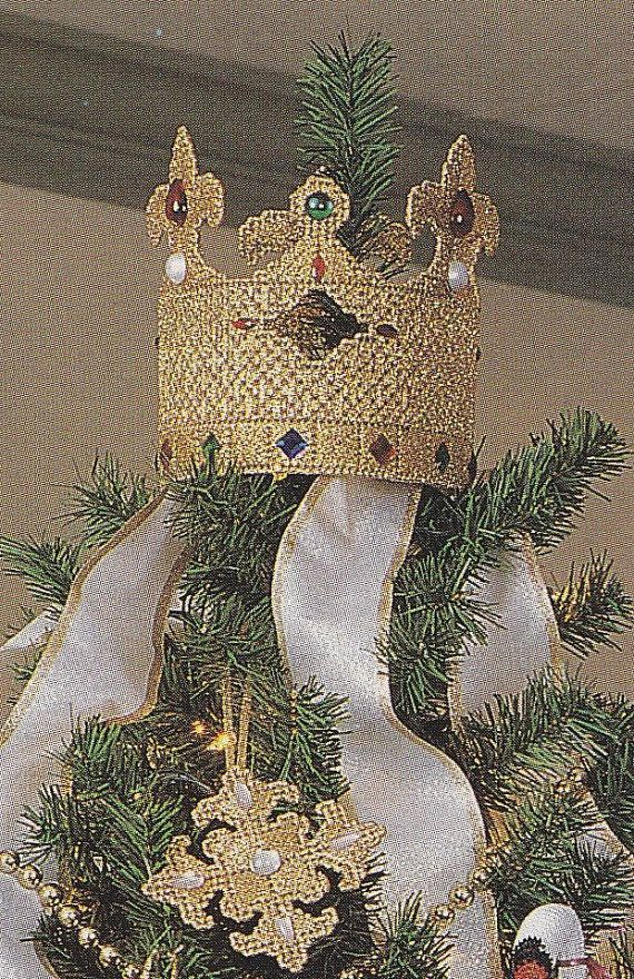 Crown Christmas Ornaments.Crown Christmas Tree Topper Plastic Canvas Pattern