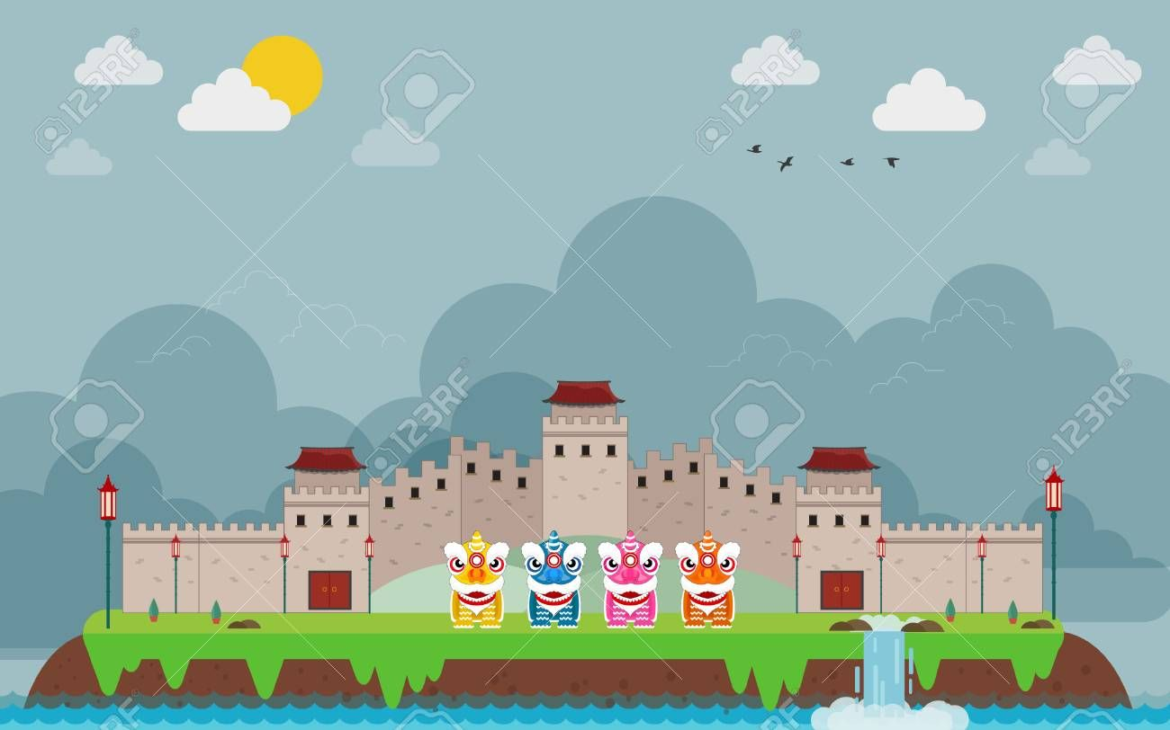 Great wall of China on island and kids Chinese , Ad,