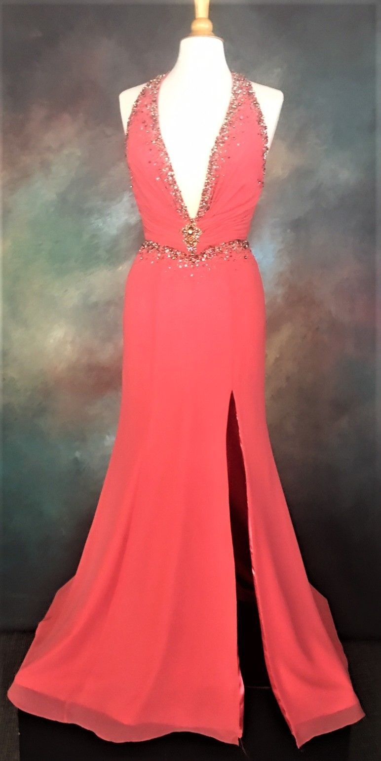 Alyce long halter prom dress Size Pageant Evening Formal