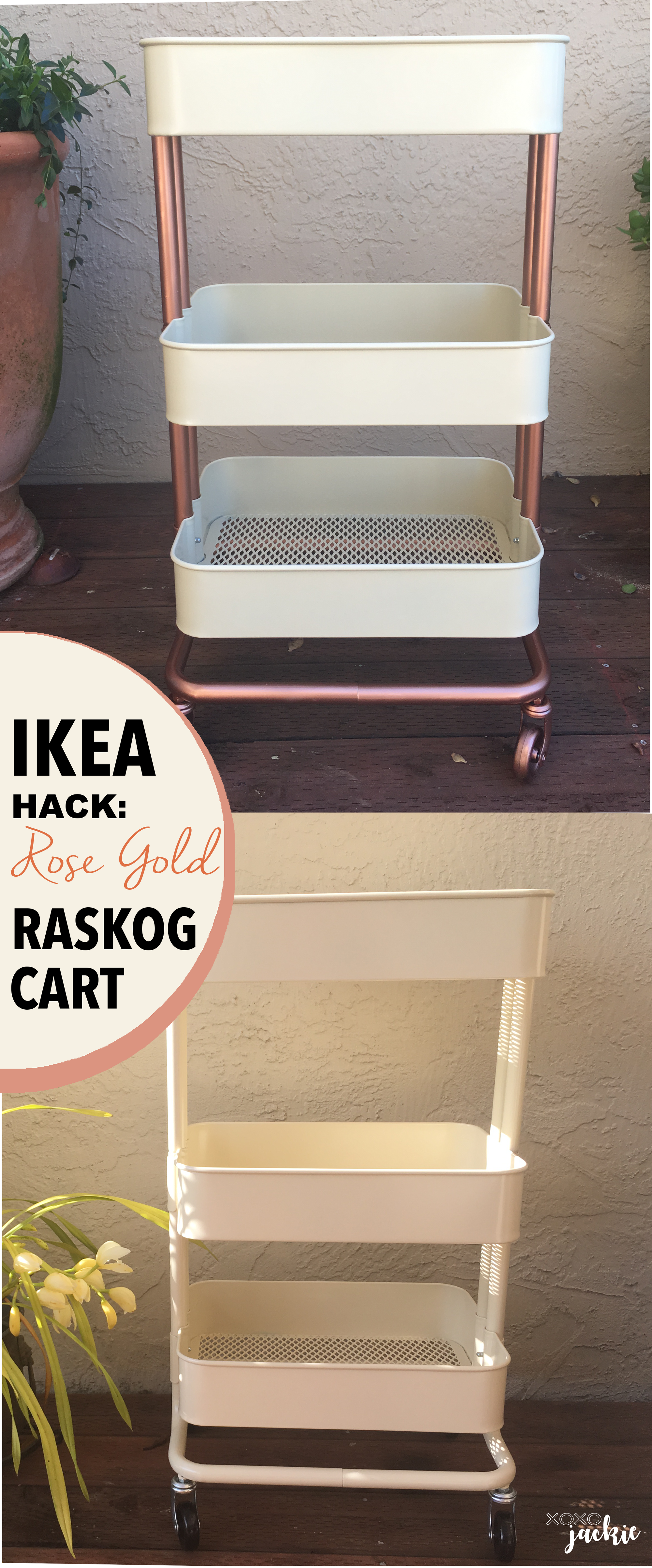 Raskog IKEA Cart Hack is part of Gold Home Accents Ikea Hacks - Transform a plain IKEA Raskog Cart into a chic accent piece  Check out the easy steps for spray painting your cart to give it a unique look