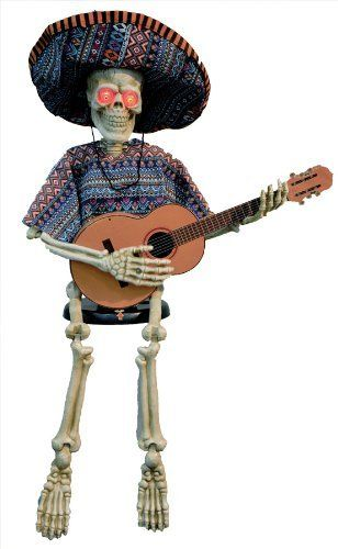 Skeleton Playing Guitar 40 Inches Halloween Prop Haunted House Scary - halloween props decor