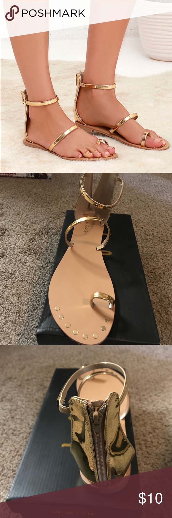 daf9a99bf19 ACHILLES GOLD FLAT ANKLE STRAP SANDALS We definitely have a weakness for  the Achilles Gold Flat Ankle Strap Sandals! Three metallic gold bands  include a toe ...