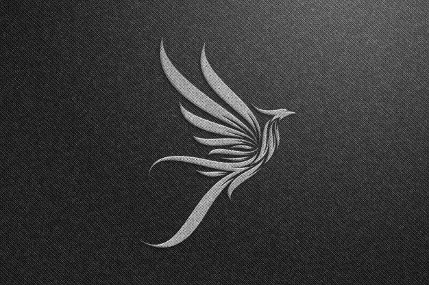 Phoenix Logo Mockup On Black Fabric - Silver Logo