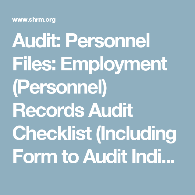 Audit: Personnel Files: Employment (Personnel) Records Audit ...