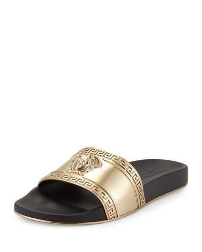 92e71701330b VERSACE Metallic Medusa-Head Slide Sandal, Black Gold.  versace  shoes   sandals