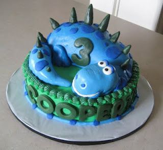 How cute is this adorable blue dinosaur birthday cake Kids