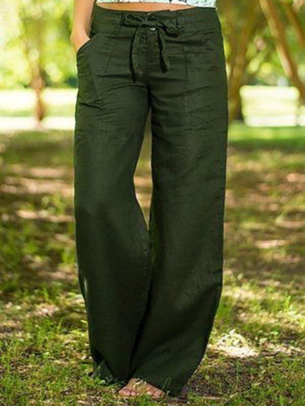 Photo of Pantaloni solidi con tasche in misto cotone