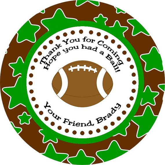 Football Star Thank You Favor Gift Tags - Printable DIY Sports Party