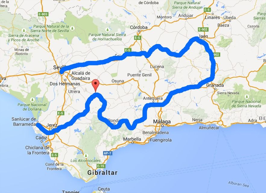 Map Of Spain Jaen.Andalusia Spain By Car Itinerary For Jaen Granada And Ronda