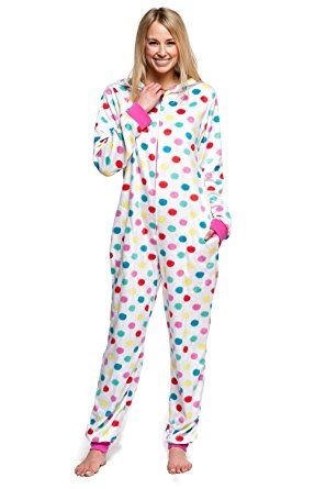 Women s Body Candy Adult Onesie Hooded Huggable Plush One Piece Pajama  Multicolor Polka Dot X-Small ae5f89439
