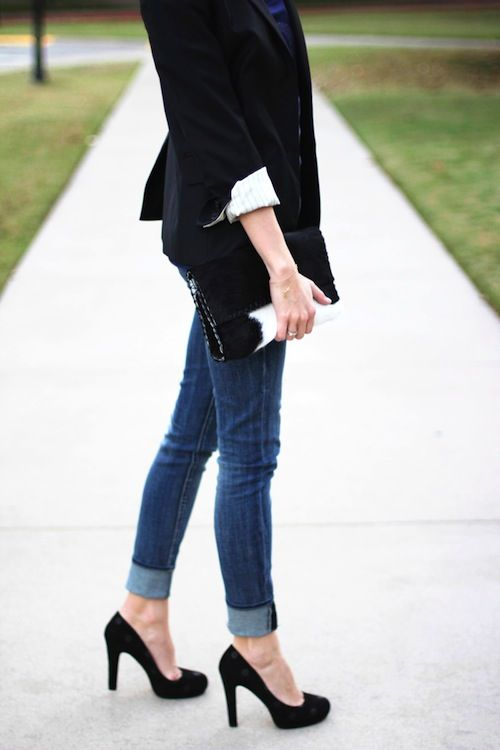 10 Looks For Fall Wearing Jeans Blazers And Heels Kate Spade Heels Blazers And Perfect Fit