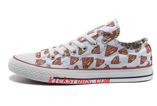 White Converse All Star Superman LOGO Printed Low Tops
