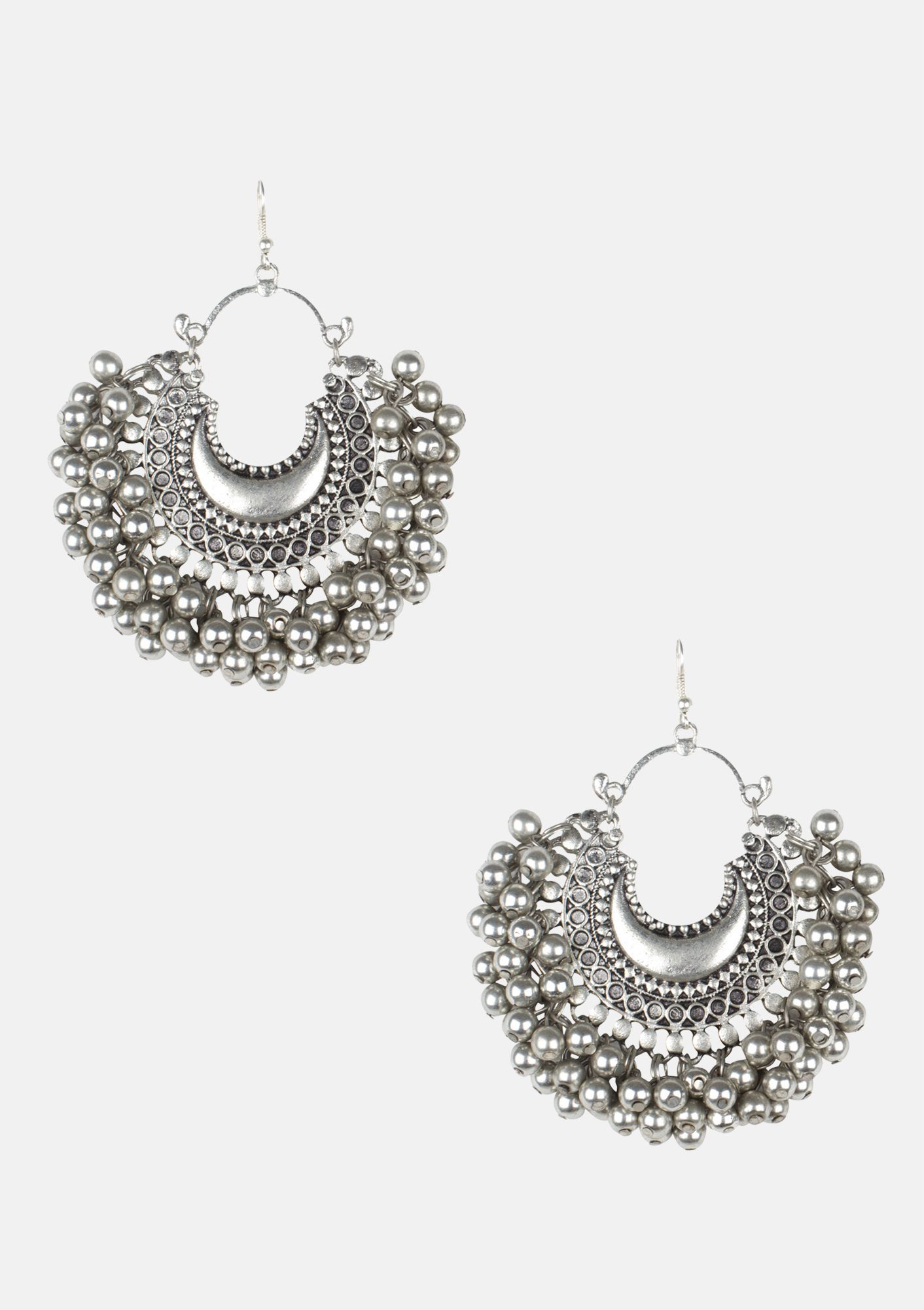 Crescent With Silver Ghungroo Earrings Jewellery
