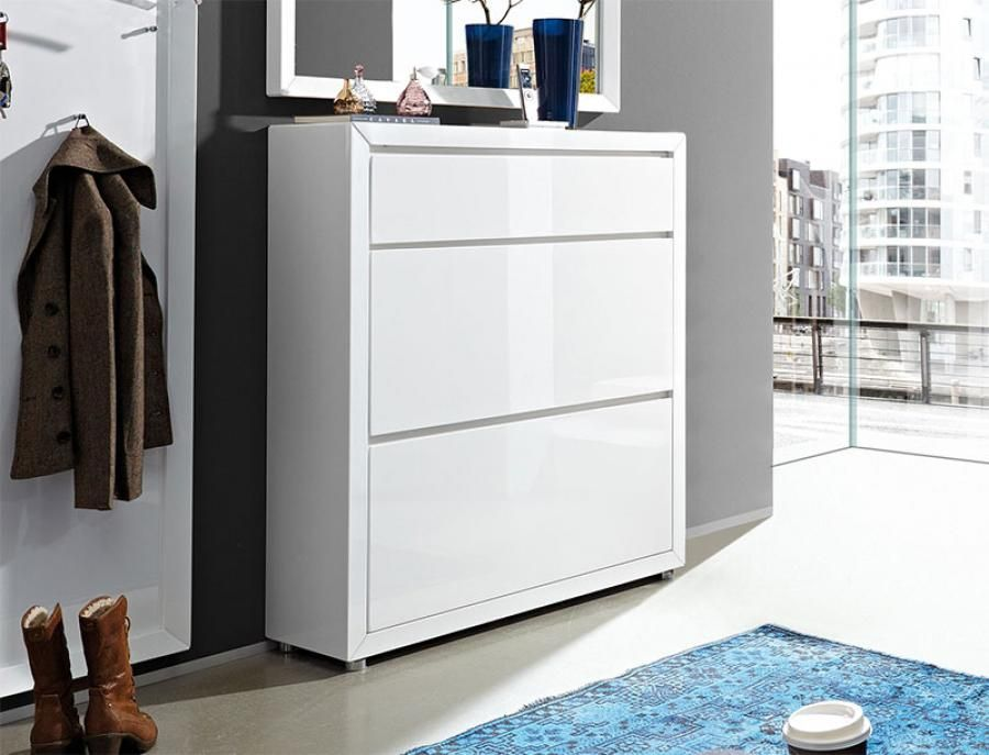Fino by Germania 1 Drawer and 2 Door Shoe Cabinet in High Gloss ...