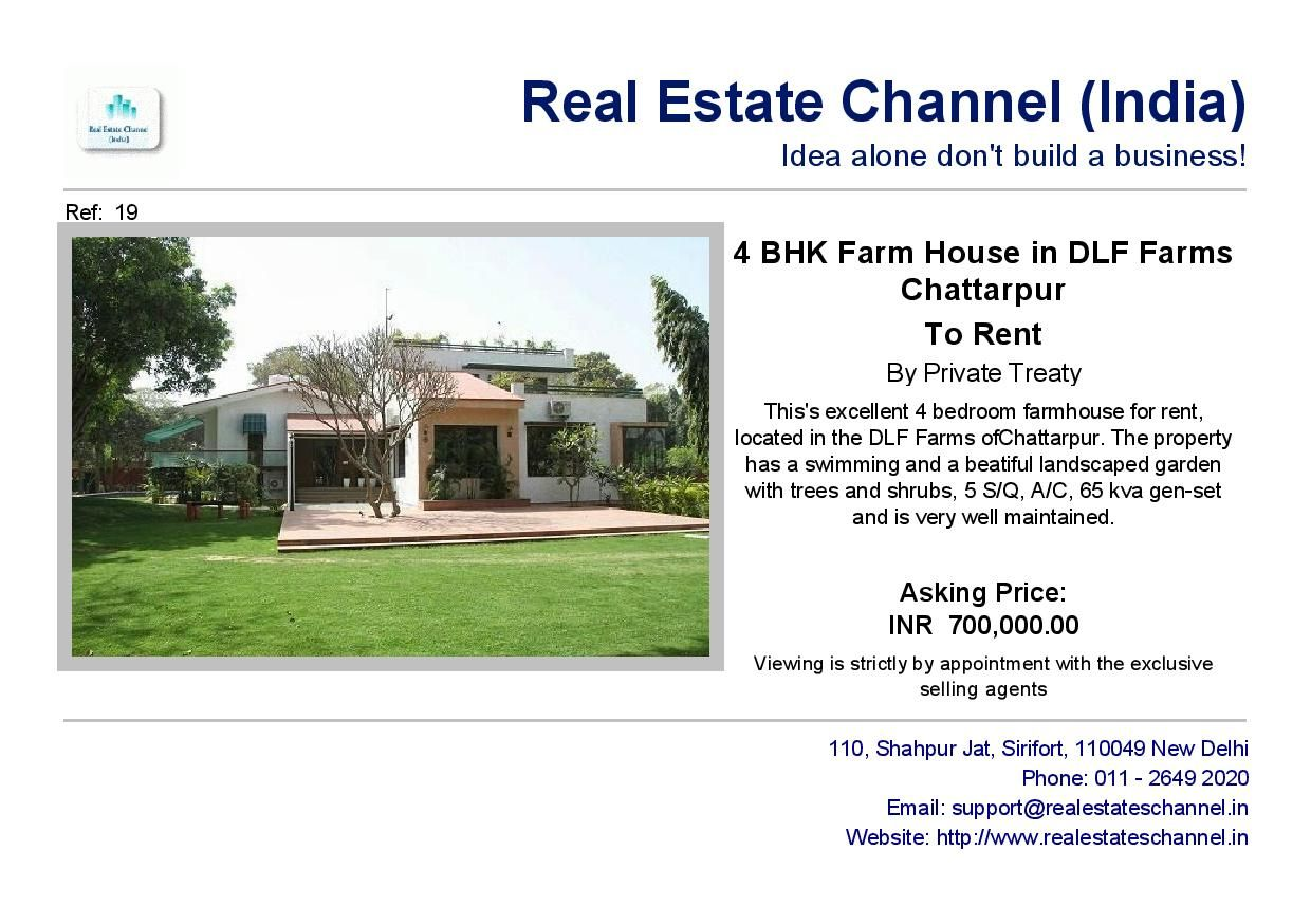 F4 Bhk Farm House In Dlf Farms Of Chattarpur For Laese Rent Renting A House Farmhouse Real Estate