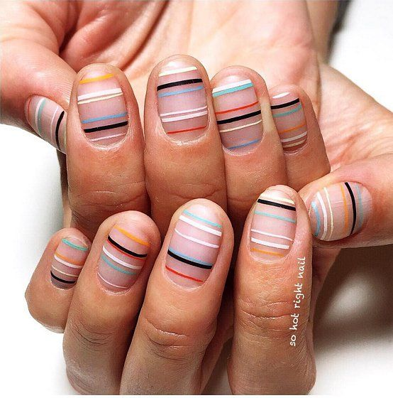 Concrete And Nail Polish Striped Nail Art: 60 Manicures That Prove Striped Nail Art Is Definitely