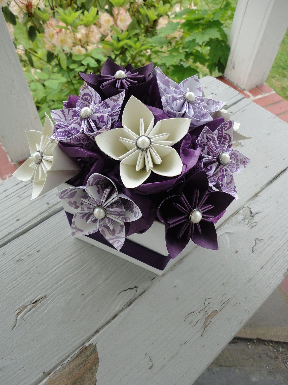 Origami Paper Flower Centerpiece Kusudama Purple 4500 Via Etsy