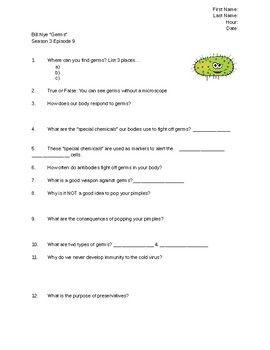 Bill Nye Germs Video Worksheet | School Ideas | Bill nye, Worksheets ...