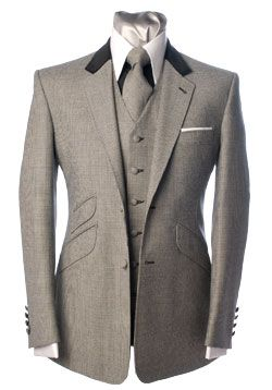 Grey blazer with black colar trim