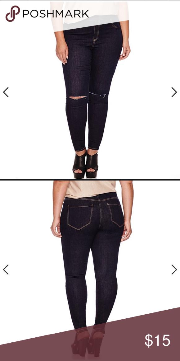 Ashley Nell Tipton Slashed-Knee Jeggings Ashley Nell Tipton for Boutique+ Pull-On Slashed-Knee Leggings - Plus Size Ashley Nell Tipton Jeans Skinny