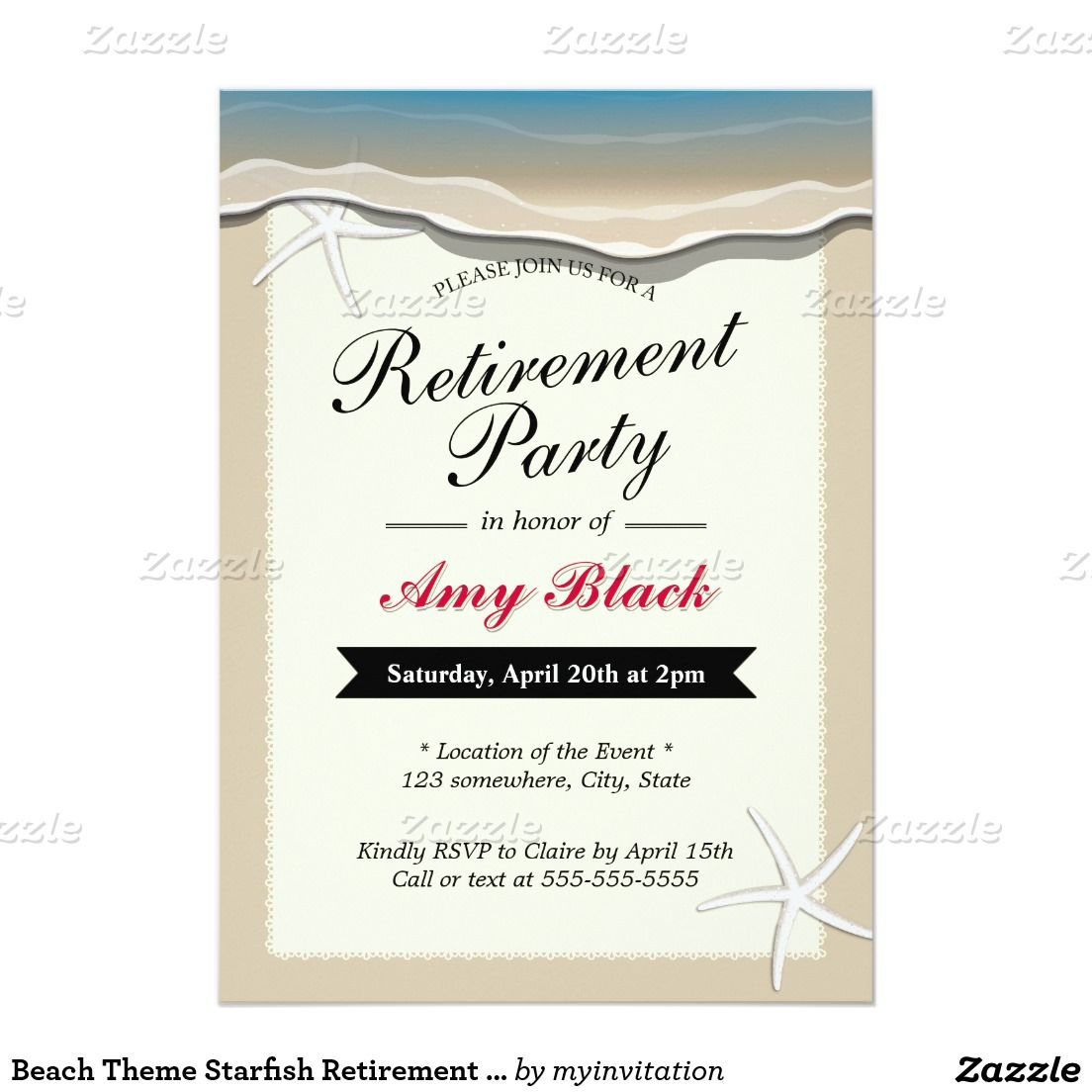 Beach Theme Starfish Retirement Party Invitation  Retirement