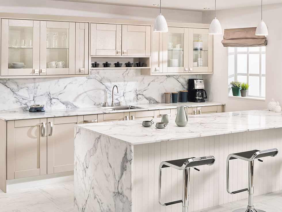 Calacatta marbleeffect Prima laminate worktop, Bushboard