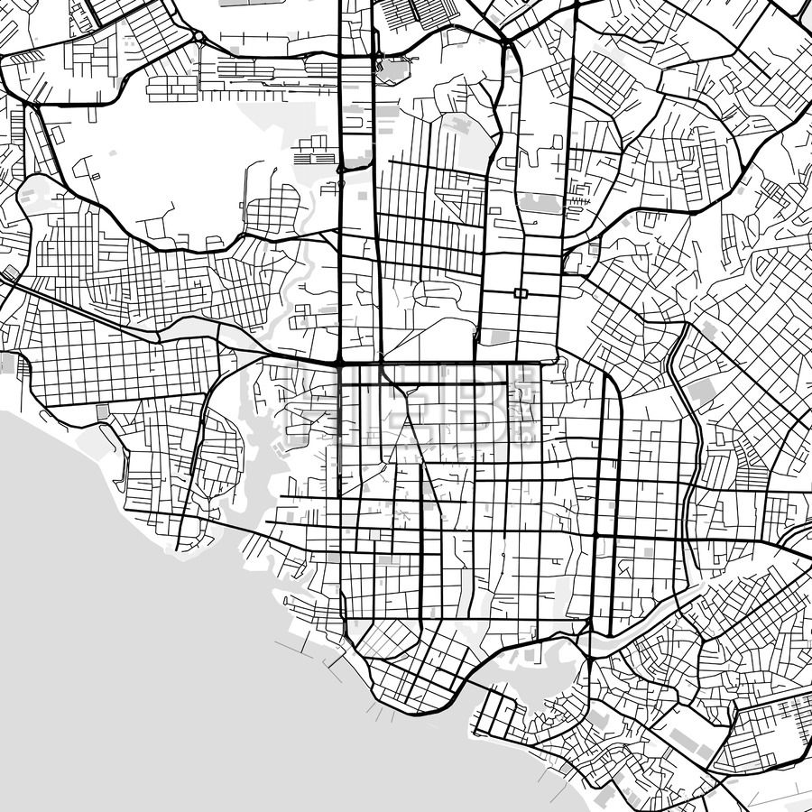 Downtown map of Manaus, light