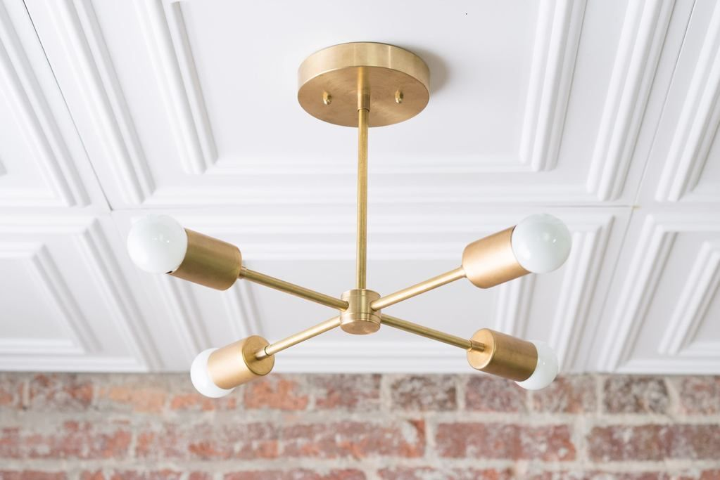 Decorative Star Ceiling Light Semi Flush Bathroom Fixture: Geometric Chandelier