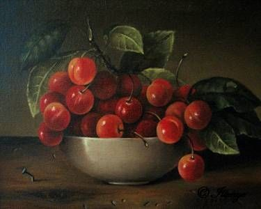 branch of cherries in white bowl on rustic wood table with bent nail, painting by artist JEANNE ILLENYE