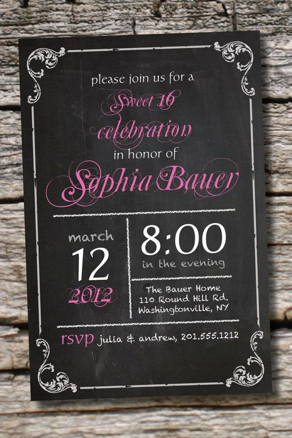 VINTAGE BLACKBOARD Poster Sweet 16 Birthday Invitation DIY ...