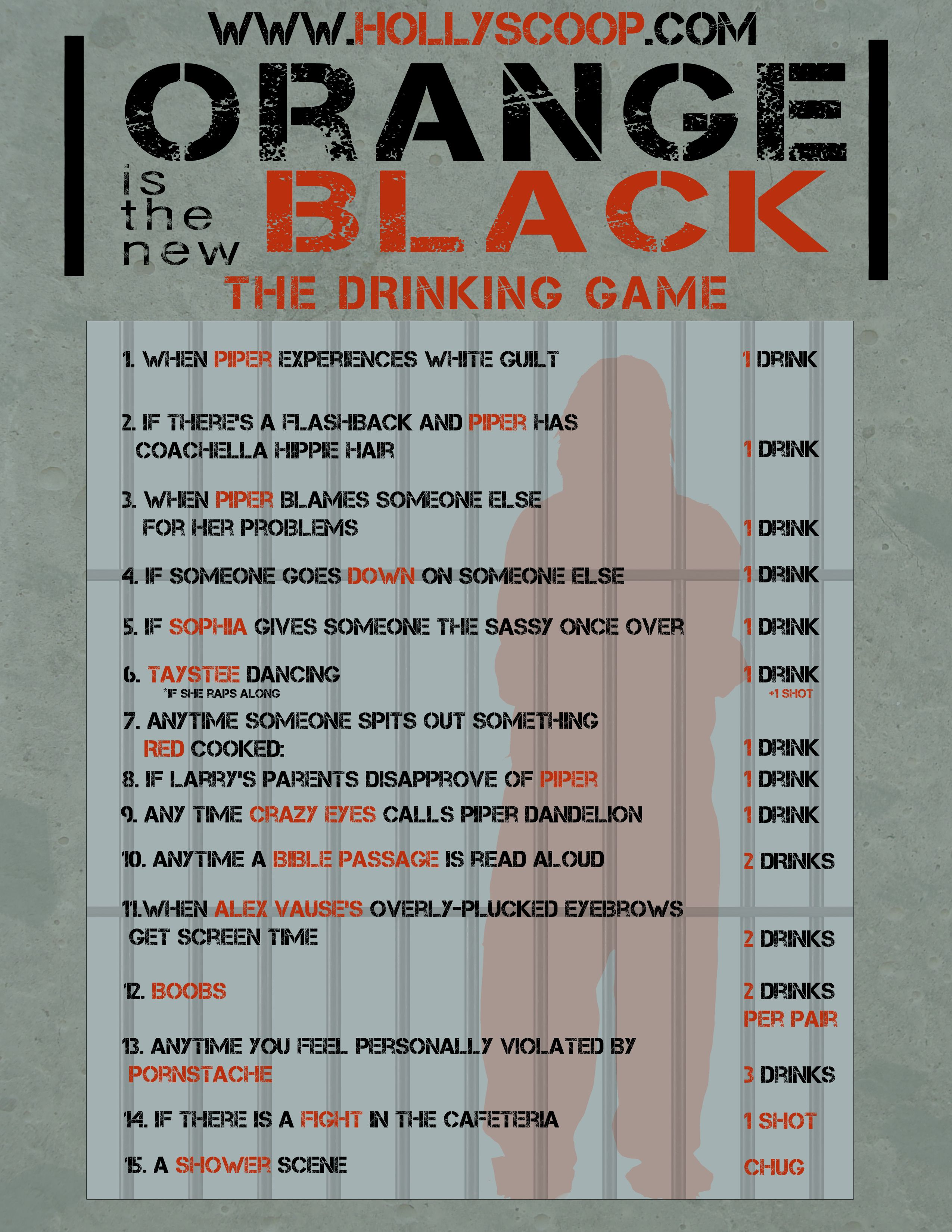 The Drunkest 'Orange Is the New Black' Drinking Game. I don't even drink but this is funny.