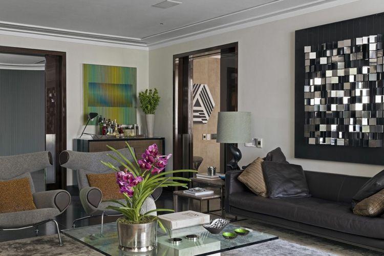Farbkombination Grau Braun Weiß im Wohnzimmer \u2013 stilvolle
