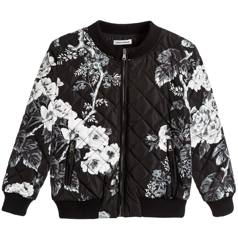 Boys Black Floral Quilted Bomber Jacket | Logos, Bomber jackets ...