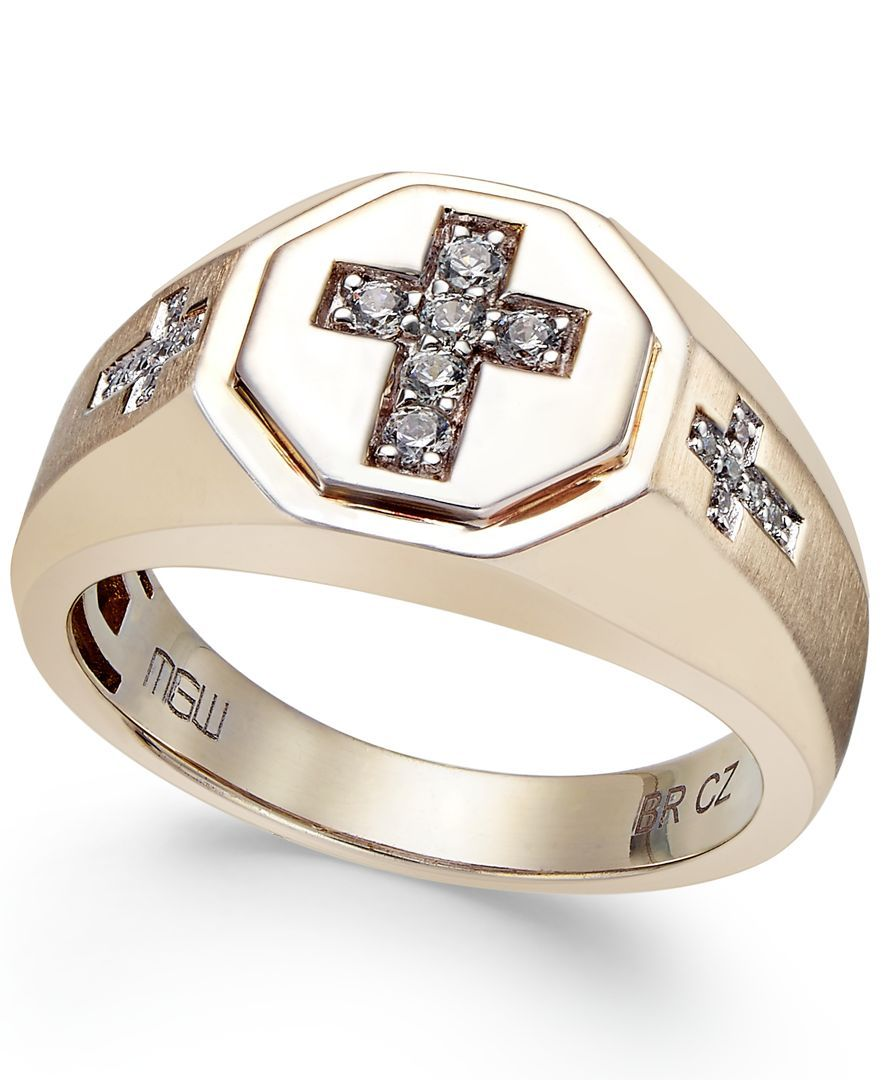 Men S Diamond Cross Ring 1 5 Ct T W In 10k Gold Mens Gold Rings Mens Gold Diamond Rings Mens Gold Jewelry