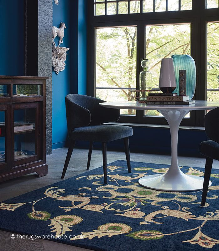 Persia Navy Rug Wedgwood Rugs A 100 Wool Handmade In Blue