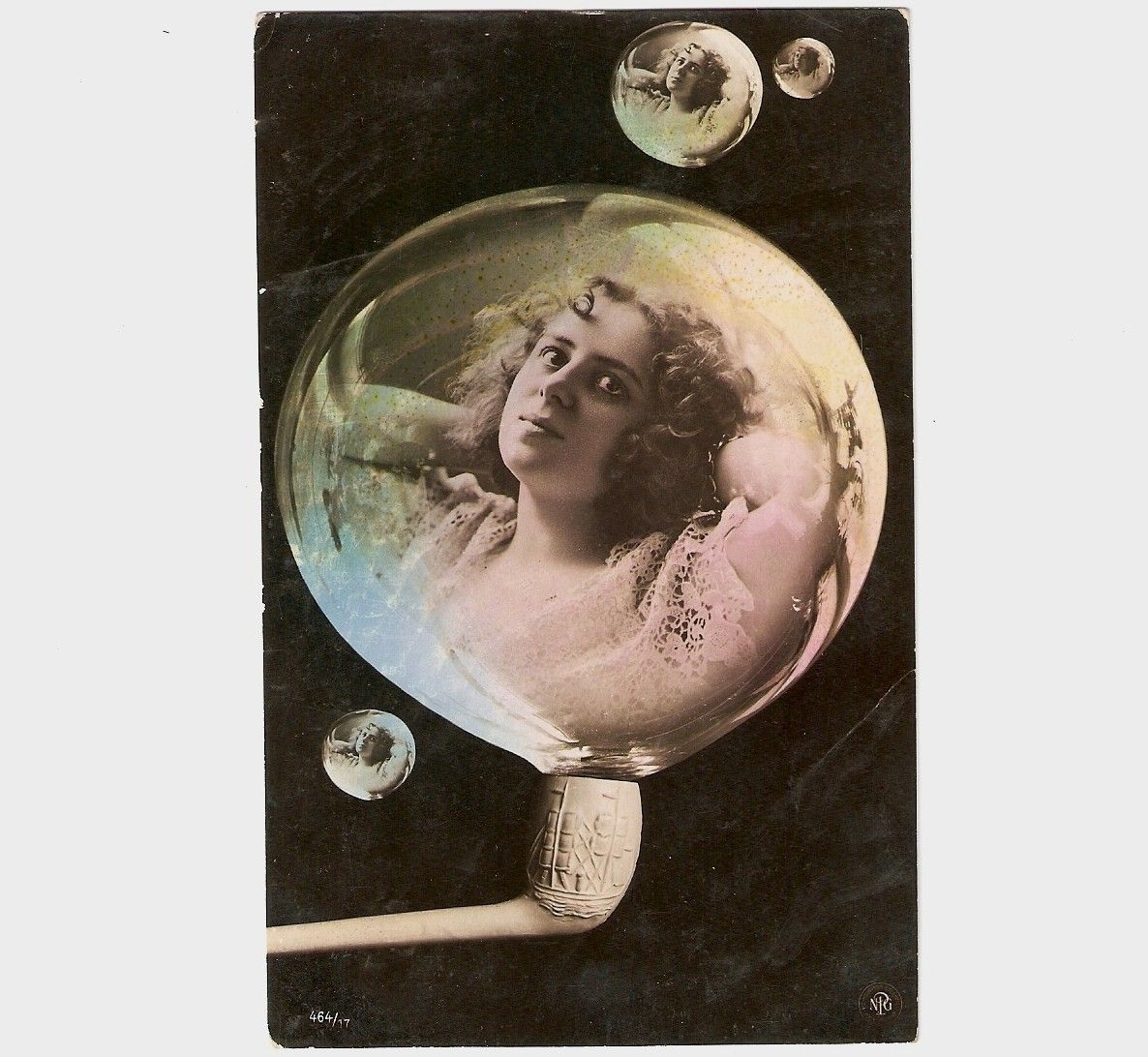 Vintage Fantasy Beautiful Woman in Bubble, Lightly tinted.